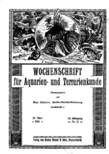 Wochenschrift für Aquarien und Terrarienkunde, 23. Jg. 1926, Nr. 13.