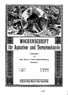 Wochenschrift für Aquarien und Terrarienkunde, 23. Jg. 1926, Nr. 14.