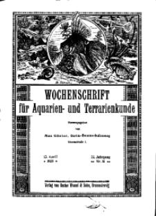 Wochenschrift für Aquarien und Terrarienkunde, 23. Jg. 1926, Nr. 15.