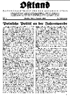 Ostland : Halbmonatsschrift für den gesamten Osten, Jg. 17, 1936, Nr 1.