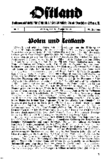 Ostland : Halbmonatsschrift für Ostpolitik, Jg. 19, 1938, Nr 1.