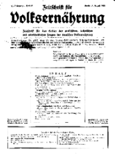 Zeitschrift für Volksernährung, 13. Jg. 1938, H. 15.