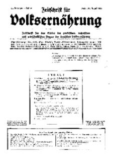 Zeitschrift für Volksernährung, 13. Jg. 1938, H. 16.