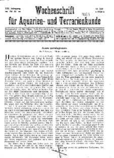 Wochenschrift für Aquarien und Terrarienkunde, 21. Jg. 1924, Nr. 16.