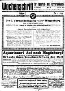 Wochenschrift für Aquarien und Terrarienkunde, 21. Jg. 1924, Nr. 18.