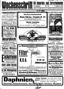 Wochenschrift für Aquarien und Terrarienkunde, 21. Jg. 1924, Nr. 28.