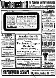Wochenschrift für Aquarien und Terrarienkunde, 21. Jg. 1924, Nr. 32.