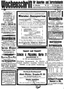 Wochenschrift für Aquarien und Terrarienkunde, 21. Jg. 1924, Nr. 34.