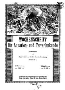 Wochenschrift für Aquarien und Terrarienkunde, 21. Jg. 1924, Nr. 35.