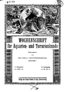 Wochenschrift für Aquarien und Terrarienkunde, 21. Jg. 1924, Nr. 36.