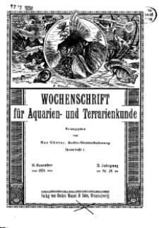 Wochenschrift für Aquarien und Terrarienkunde, 21. Jg. 1924, Nr. 38.