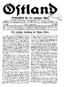 Ostland : Wochenschrift für die gesamte Ostmark, Jg. 14, 1933, Nr 35.