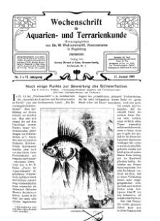 Wochenschrift für Aquarien und Terrarienkunde, 6. Jg. 1909, Nr. 2.