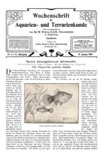Wochenschrift für Aquarien und Terrarienkunde, 6. Jg. 1909, Nr. 3.
