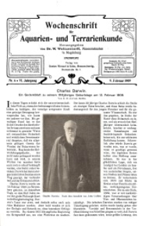 Wochenschrift für Aquarien und Terrarienkunde, 6. Jg. 1909, Nr. 6.