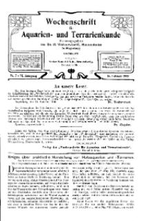 Wochenschrift für Aquarien und Terrarienkunde, 6. Jg. 1909, Nr. 7.