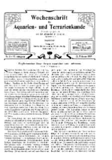 Wochenschrift für Aquarien und Terrarienkunde, 6. Jg. 1909, Nr. 8.