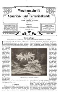 Wochenschrift für Aquarien und Terrarienkunde, 6. Jg. 1909, Nr. 9.