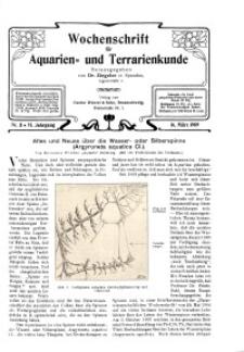 Wochenschrift für Aquarien und Terrarienkunde, 6. Jg. 1909, Nr. 11.
