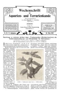 Wochenschrift für Aquarien und Terrarienkunde, 6. Jg. 1909, Nr. 13.
