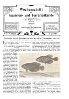 Wochenschrift für Aquarien und Terrarienkunde, 6. Jg. 1909, Nr. 14.
