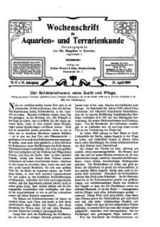 Wochenschrift für Aquarien und Terrarienkunde, 6. Jg. 1909, Nr. 17.