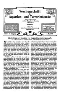Wochenschrift für Aquarien und Terrarienkunde, 6. Jg. 1909, Nr. 18.