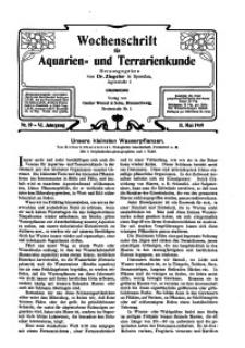 Wochenschrift für Aquarien und Terrarienkunde, 6. Jg. 1909, Nr. 19.