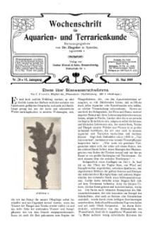 Wochenschrift für Aquarien und Terrarienkunde, 6. Jg. 1909, Nr. 20.