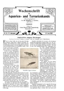 Wochenschrift für Aquarien und Terrarienkunde, 6. Jg. 1909, Nr. 26.