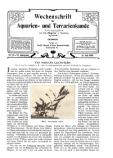 Wochenschrift für Aquarien und Terrarienkunde, 6. Jg. 1909, Nr. 28.