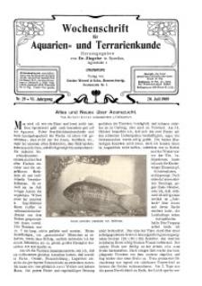 Wochenschrift für Aquarien und Terrarienkunde, 6. Jg. 1909, Nr. 29.