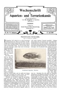 Wochenschrift für Aquarien und Terrarienkunde, 6. Jg. 1909, Nr. 30.