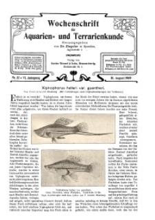 Wochenschrift für Aquarien und Terrarienkunde, 6. Jg. 1909, Nr. 32.