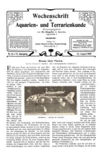 Wochenschrift für Aquarien und Terrarienkunde, 6. Jg. 1909, Nr. 34.