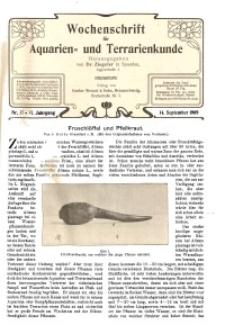 Wochenschrift für Aquarien und Terrarienkunde, 6. Jg. 1909, Nr. 37.