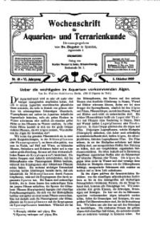 Wochenschrift für Aquarien und Terrarienkunde, 6. Jg. 1909, Nr. 40.