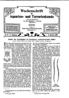 Wochenschrift für Aquarien und Terrarienkunde, 6. Jg. 1909, Nr. 41.