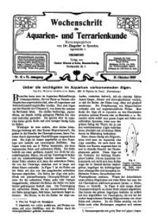 Wochenschrift für Aquarien und Terrarienkunde, 6. Jg. 1909, Nr. 42.