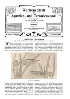 Wochenschrift für Aquarien und Terrarienkunde, 6. Jg. 1909, Nr. 44.