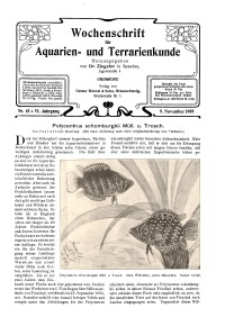 Wochenschrift für Aquarien und Terrarienkunde, 6. Jg. 1909, Nr. 45.