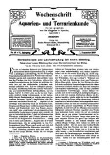Wochenschrift für Aquarien und Terrarienkunde, 6. Jg. 1909, Nr. 49.