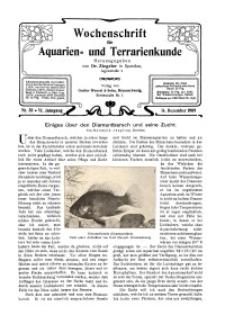 Wochenschrift für Aquarien und Terrarienkunde, 6. Jg. 1909, Nr. 50.