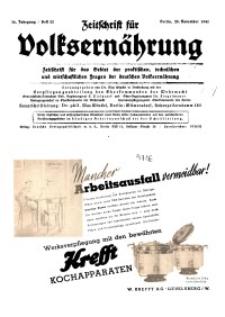 Zeitschrift für Volksernährung, 16. Jg. 1941, H. 22.