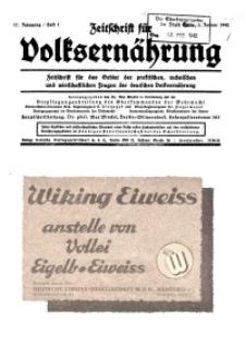 Zeitschrift für Volksernährung, 17. Jg. 1942, H. 1.