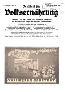 Zeitschrift für Volksernährung, 17. Jg. 1942, H. 2.