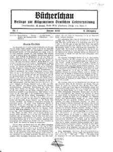 Bücherschau : Beilage zur Allgemeinen Deutschen Lehrerzeitung, 8. Jg. 1933, Nr 1.