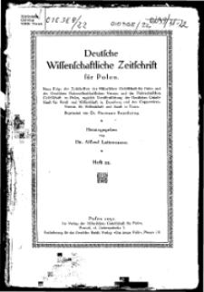 Deutsche wissenschaftliche Zeitschrift für Polen, 1931, H. 22.