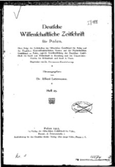 Deutsche wissenschaftliche Zeitschrift für Polen, 1933, H. 25.