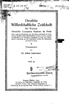 Deutsche wissenschaftliche Zeitschrift für Polen, 1939, H. 36.